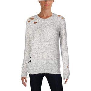 Aqua Distressed Heather Crewneck Sweater Gray XS